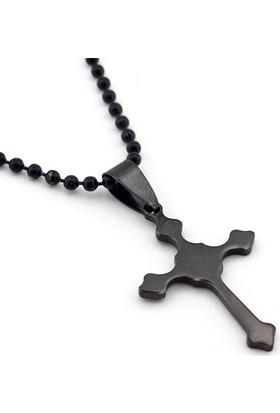 Solfera Siyah Çelik Tasarım Haç Botonnee Cross Kolye K799