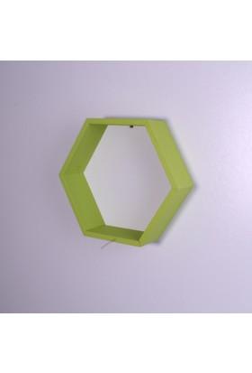 Kozanat Ahşap Altıgen Raf 25 x 25 cm. - Fıstık Yeşili