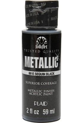 Plaid Folkart Metalik Akrilik Boya 59 Ml - 661 Sequin Black