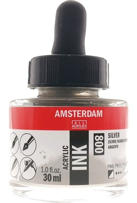Talens Amsterdam Akrilik Mürekkebi 30Ml - N:800 Silver