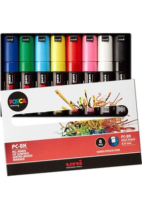 Uni Posca Su Bazlı Marker Pc-8K 8'Li - Ana Renkler