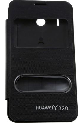 Case 4U Huawei Y320 Pencereli Flip Cover Siyah
