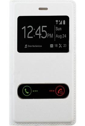 Case 4U Samsung Galaxy Ace 4 Pencereli Flip Cover Beyaz
