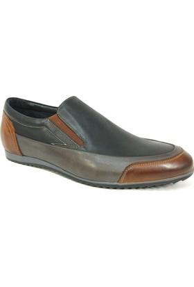 Fierro 940 Siyah Gri Taba Bağcıksız Erkek Ayakkabı