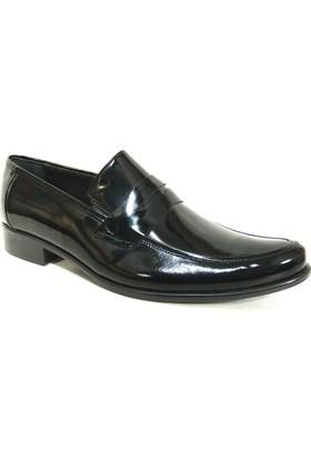 Grotto 114353 Siyah Rugan Bağcıksız Erkek Ayakkabı