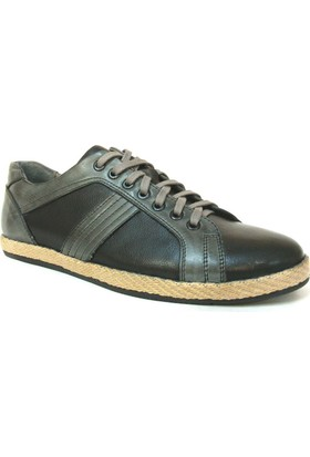 Grotto 185 Siyah Gri Bağcıklı Sneakers Erkek Ayakkabı