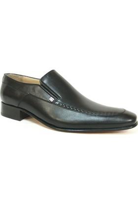 Tekyıldız 611 Siyah Bağcıksız Kösele Erkek Ayakkabı