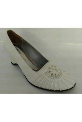 Byr Beyaz Renk Dolgu Topuk Ayakkabı