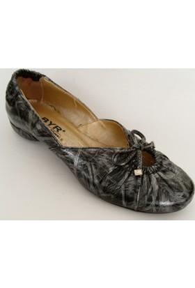 Byr Shoes Siyah Gümüş Bayan Babet Ayakkabı