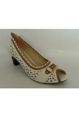 My Zenn 196 Beyaz Camel Topuklu Bayan Ayakkabı