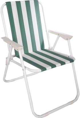 Belay Portatif Metal Katlanır Sandalye Yeşil Beyaz Çizgili