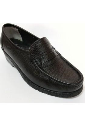 Engindere %100 Deri Siyah Dolgu Topuk Bayan Ayakkabı