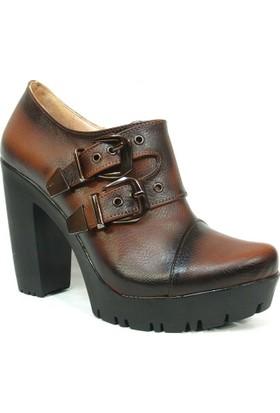 Nel Moda 1309 Kahverengi Bottie Platform Bayan Ayakkabı