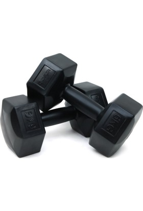 Delta Siyah Köşeli Plastik Dambıl Set (Kutuda Çift) - 6 Kg x 2 Adet - SVD 60