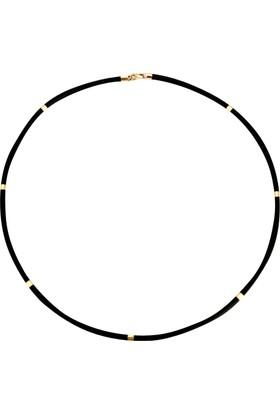 Felusya 14 Ayar Altın Siyah Kauçuk Kolye - Tre245