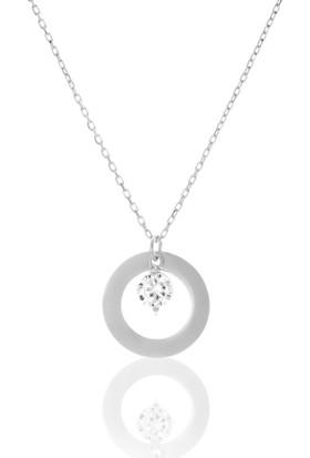 Azuris 925 Ayar Gümüş Tek Taş Plaka Kolye Alk1304