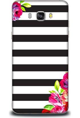 Exclusive Samsung J5 2016 Siyah Beyaz Renkli Çiçek Design Kapak