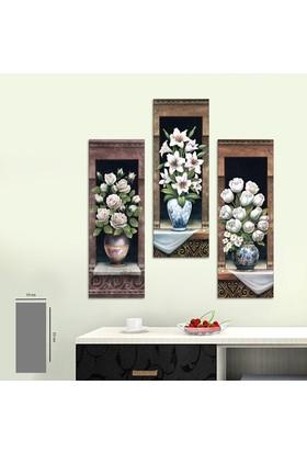 Evinemoda 3 Parça Mdf Tablo - Beyaz Çiçekler