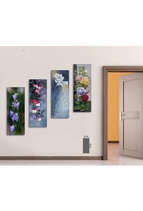 Evinemoda 4 Parça Mdf Tablo - Renkli Çiçekler