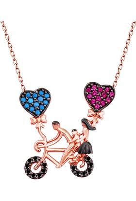 Aez Silver Aşk Bisikleti Figürlü Gümüş Kolye