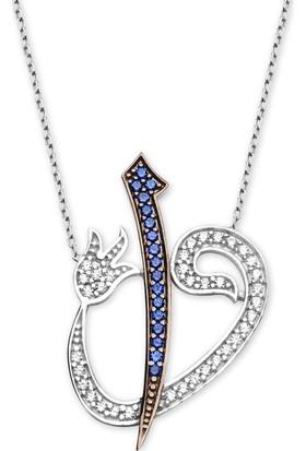 Aez Silver Elif - Vav Figürlü Gümüş Kolye