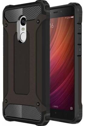 Case 4U Xiaomi Redmi Note 4 Kılıf Shockproof Zırh Koruma Kapak Siyah + Cam Ekran Koruyucu