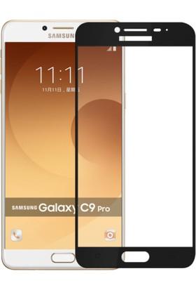 Case 4U Samsung Galaxy C9 Pro Full Kapatan Cam Ekran Koruyucu Siyah