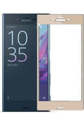 Case 4U Sony Xperia XZ Full Kapatan Cam Ekran Koruyucu Altın