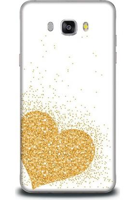 Exclusive Samsung J5 2016 Altın Simli Kalp Design Kapak