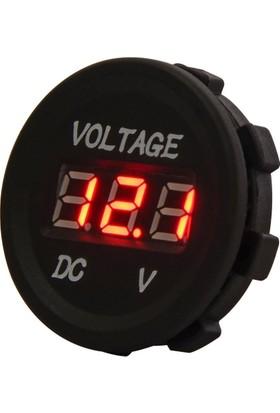 Araba Motosiklet LED Dijital Ekran Voltmetre Su Geçirmez 12 V 24 V