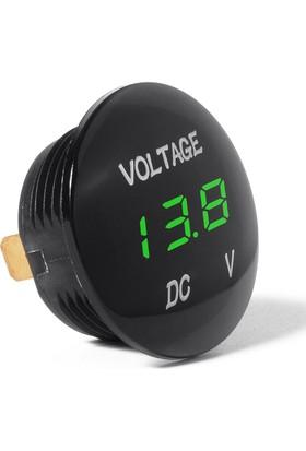 Araba Motosiklet LED Dijital Ekran Voltmetre Su Geçirmez 12 V 24 V Yeşil