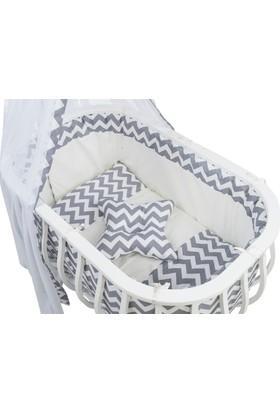 Moje Sepet Beşik Tekstili Zig Zag Desenli Gri