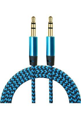 Diwu AUX Stereo 3.5mm Data Ses Örgü Kablo Mavi