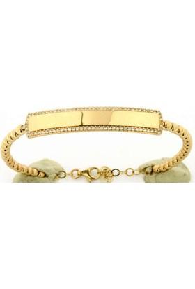 Golden Silver World 14 Ayar Altın İsim Yazılan Bayan Bilezik Glb00010