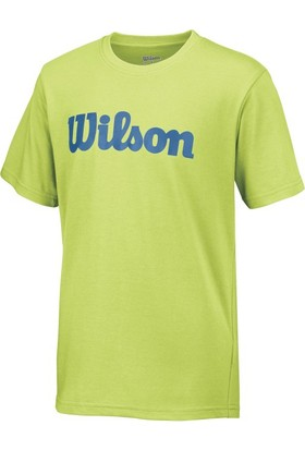 Wilson Script Cotton Tee Erkek Çocuk T-Shirt Green Glow/Deep Water (MD) (WRA752501MD)