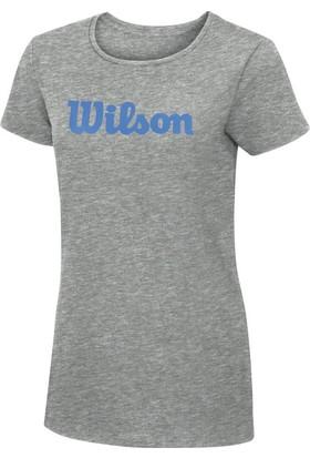 Wilson Script Cotton Tee Kadın T-Shirt Heather Grey (XL) (WRA75820X)