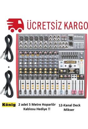 König K-1201 FX 12-Kanal Ultra İnce Analog Mikser