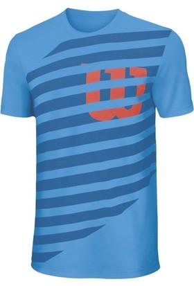 Wilson Lıned W'Tech Tee Erkek T-shirt Blithe/Deep Water/Fiesta (XL) (WRA747001XL)