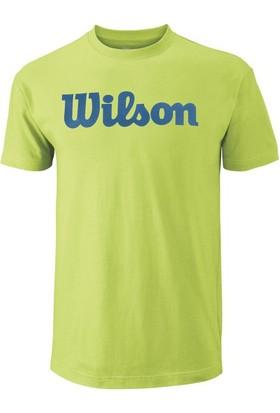 Wilson Scrıpt Cotton Tee Erkek T-Shirt Green Glow/Deep Water (XL) (WRA747802XL)