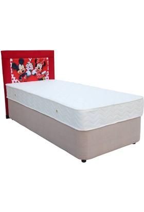 Homeshoppingmall Tek Kişilik Baza+Yatak+Başlık Mickey Mouse V3