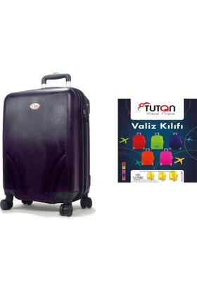 TUTQN Kırılmaz Kabin Boy Valiz + TUTQN Valiz Kılıfı