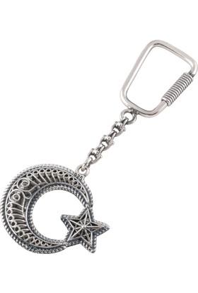 Akyüz Gümüş Ay Yıldız İşlemeli Telkari Gümüş Anahtarlık