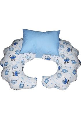 Hupim Mavi Emzirme Yastığı Bebek Oturma Minderi Yastık