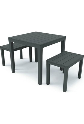 Decotex Masa Sandalye Tabure Seti Plastik Bahçe Balkon Mutfak Seti Kahve