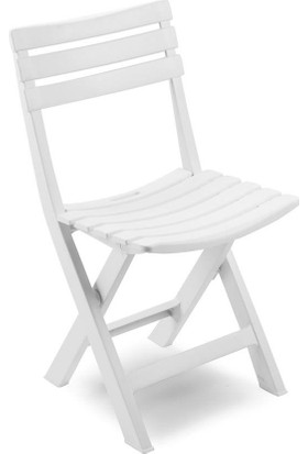 Decotex Plastik Katlanan Sandalye Bahçe Balkon Dış Mekan Katlanır Sandalye Beyaz