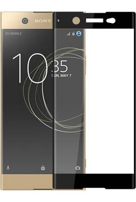 Case 4U Sony Xperia XA1 Tam Kaplayan Cam Ekran Koruyucu Siyah