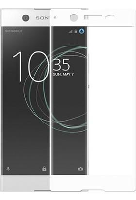 Case 4U Sony Xperia XA1 Ultra Tam Kaplayan Cam Ekran Koruyucu Beyaz