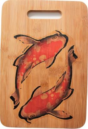 Suluboyadesign Koi Balığı Baskılı Peynir Sunum Tahtası