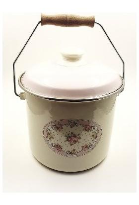 Akan Orta Boy Emaye Çiçek Desenli Yoğurt Bakraç 18Cm