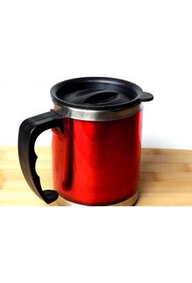 Akan Çelik Küçük Boy Kırmızı Termos Kupa Bardak